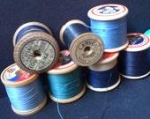 Vintage bobbins spools blue instant collection