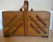 Vintage fold out sewing box with handle