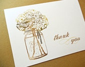 Mason Jar Thank You Cards / Wedding Thank You Cards, 25-Count