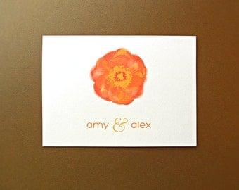 Personalized Wedding Stationery / Wedding Thank You Cards / Thank You Cards, Orange Poppy, 10-Count