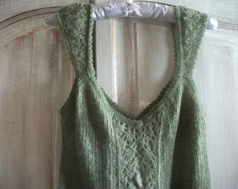 "DELICATE KNITTED DRESS, soft sage green, size M, 32-34"" bust"