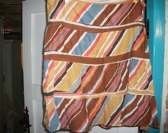 "SALE,Indian COTTON SKIRT, ochres. orange, blue, earth colours, size M, 34"" waist"
