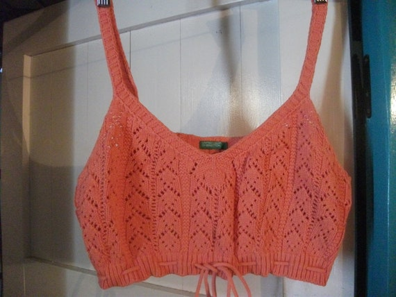 "s.a.l.e- BENETTON COTTON TOP, knitted, cropped, beach, summer, bra top, tangerine, Italian 34-36""bust"