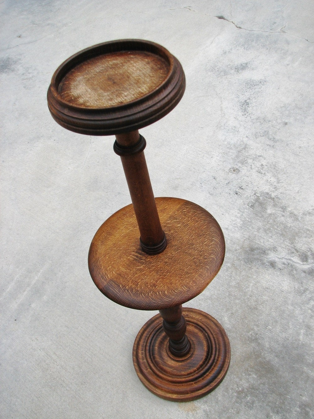 Vintage Oak Wooden Ashtray Cigar Stand Candle By Retrogoround