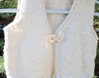 Sale: Handknit Handspun 100% Pure Cashmere Baby Vest, Luxury Heirloom Quality