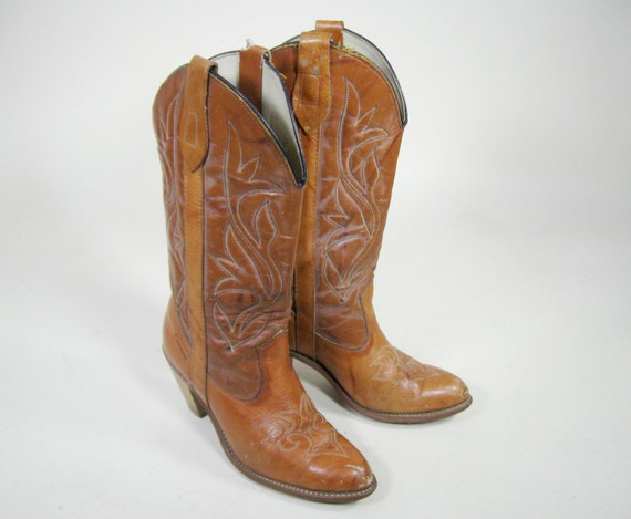 70s Brown Leather Boots Capezio Cowgirl Western Womens Size 7M