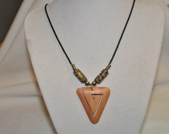 "20 1/2"" Wooden Triangle Pendant Necklace With Lobster Claw Clasp"