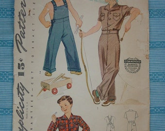 Vintage Pattern 1940's Simplicity No.4116 Overall and Lumber Jacket, Size 2