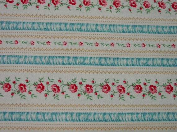 """R'svd. for Renee- Nice Vintage Cotton Ticking Fabric 27 x 94"""""""
