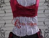 Burgundy Sparkle Stripes & Lace Turkish, Gothic, Bellydance, Steampunk Vest