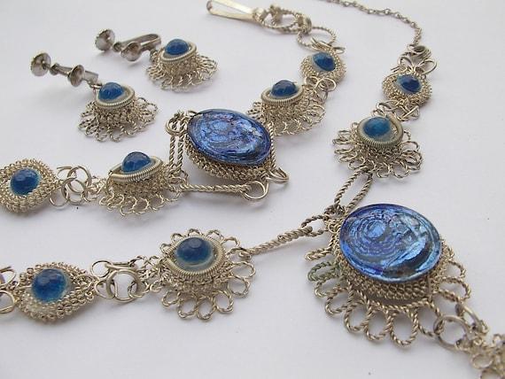 vintage jewelry sapphire blue pendant necklace bracelet earrings set, wire wrapped parure victorian style, screw on earrings, wedding bridal