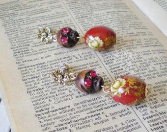 Halloween Skull Bead Earrings with Rhinestone Eyes Oxblood Red & Floral Pattern Dangles Ucycled Vintage OOAK
