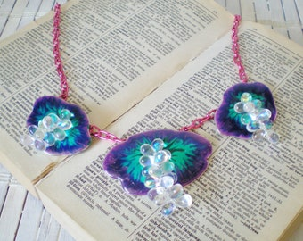 Metallic Purple Statement Necklace, Abstract Flowers, Jewel Tones, Upcycled, OOAK, Dewdrop Beads