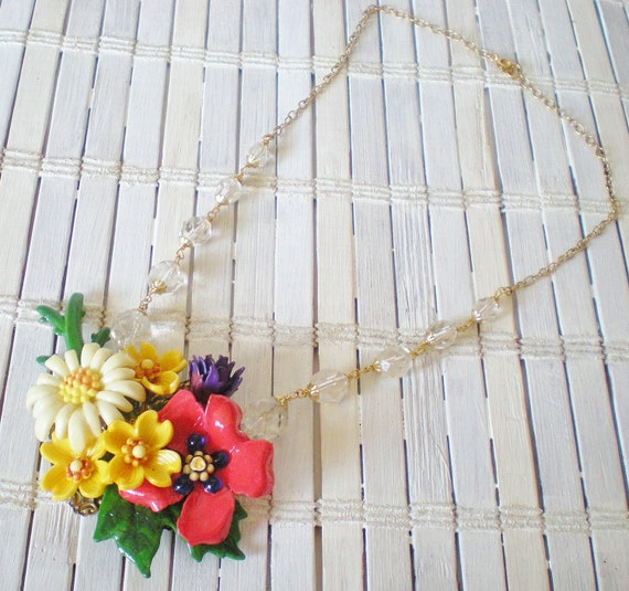 Flower Bouquet Statement Necklace with Wire Wrapped Crystal Beads