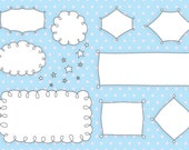 Journal Tags - Doodle Frames Clipart  - Set 20 with Brushes & Custom Shapes