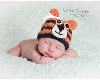 Auburn Tiger Baby Hat photography prop - Girl or Boy, Made to Order