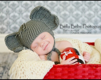 Alabama Elephant Hat for Baby - Made to Order, photography prop