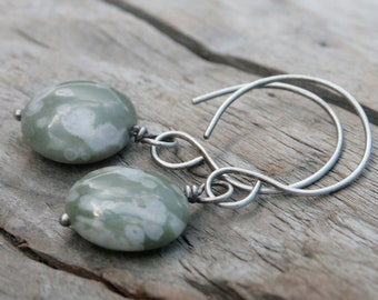 Sage Green and White Spotted Jasper Stone Earrings. Wire Wrapped on Handcrafted Hand-forged Sterling Silver Ear Wires.