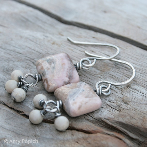 Wire Wrapped Light Pink and Cream White Gemstone and Sterling Silver Earrings.  Rhodonite and Sterling Silver.