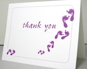 Thank You Note Card Baby Announcement Baby Footprints Purple Thanks Birth Announcement Gift