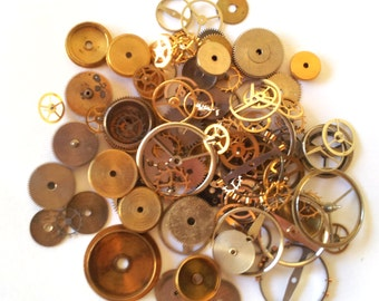 Steampunk Watch Pieces and Parts - 100 GEARS, cogs & WHEELS ONLY