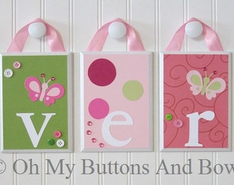 Hanging Name Letters. Nursery Name Blocks . Nursery Name Decor . Baby Names . Hanging Name Blocks . Bedding . Raspberry . Butterfly
