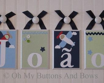 Name Letters . Nursery Name Blocks . Nursery Decor . Baby Name Blocks . Hanging Name Letters. Aviation . Airplane . Plane