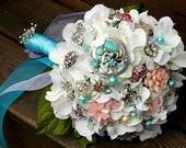 Vintage blue pink Brooch Bouquet with free toss bouquet