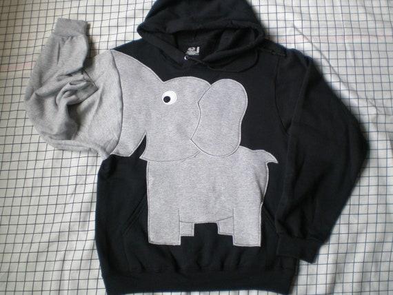 Elephant Trunk sleeve sweatshirt sweater jumper HOODIE mens S Black
