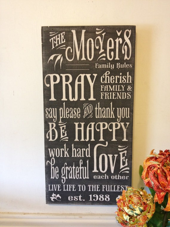 Family rules sign- vintage style lettering - chalkboard syle wood sign