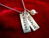 Necklace with Two Kids Names Sterling Silver Stamped Distressed Tags