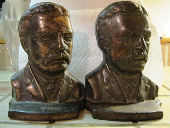 Pair of Teddy Roosevelt Cast Iron Bookends