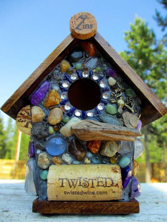 Whimsical Birdhouse Mosaic Amethyst and Wine Cork