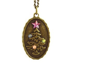 COUPON: SALE2016 Antique Bronze Necklace. Long Chain Rhinestone Necklace. Vintage Christmas Tree Pendant Long Necklace. Xmas gift.