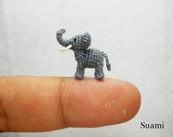 Extreme Micro Crochet Elephant - Tiny Amigurumi Miniature stuffed Animals - Gray Elephant - Made To Order