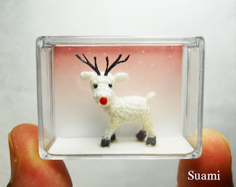 Miniature White Reindeer - Mini Dollhouse Crochet Tiny Amigurumi Animals - Made To Order