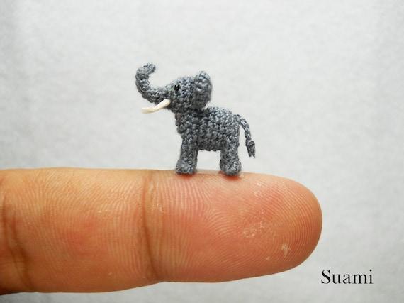 Extreme Micro Crochet Elephant - Tiny Amigurumi Miniature stuffed Animals - Gray Elephant - Made To Order