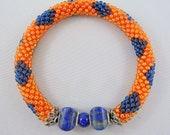 Orange & Blue Bead Crochet Bangle