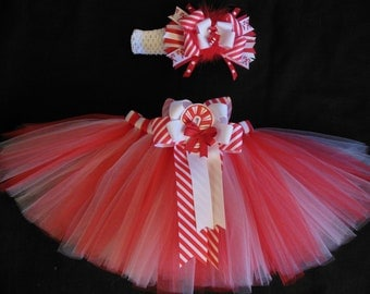 """Christmas tutu set """"Candy Cane cutie"""" custom made in your choice of size Newborn-4t"""