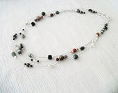 "The floating rocks Fancy Jasper ""floating"" beaded necklace Stackable strands for a versatile look"