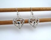 Bridal silver heart earrings with diamante gem on silver hooks, filigree, rhinestone