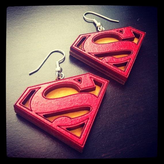 Wood Superman Logo Earrings