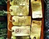 Handmade distressed looking tags made to look old