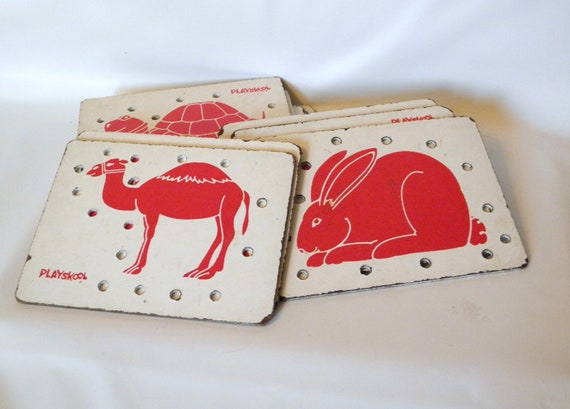 Vintage Lacing Cards, Childrens Toy, Preschool Toy, Playskool Toy