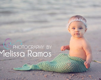 Crochet Infant Mermaid Tail - Photography Prop with Matching Pearl Headband
