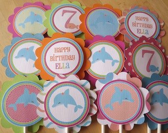 BRIGHT Dolphin Collection: Cupcake Toppers