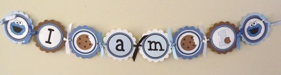 Cookie Monster Inspired Collection: High Chair Banner -Blue Monster -Cookie