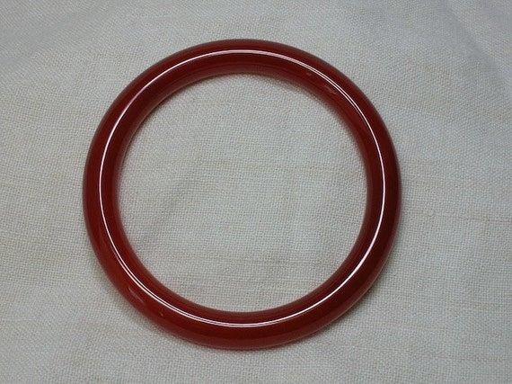 Vintage Chinese Bangle Bracelet: Carnelian, Oxblood Red Stone 62.5mm