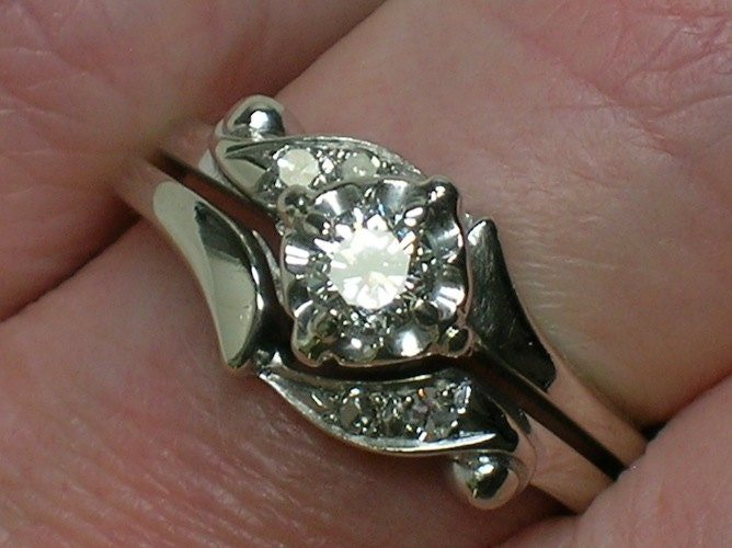 vintage wedding rings set 1960s classic white gold beauty