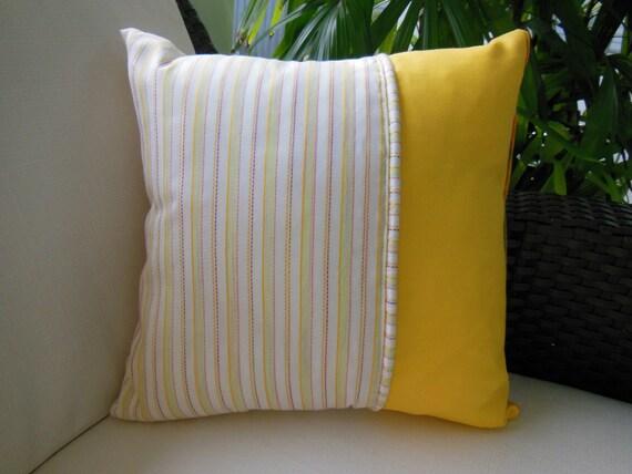 Yellow Pillow - Orange Pillow - Flower Pillow - Vintage Fabric - Decorative Accent Throw Pillow - 15 x 15 inch - Sunny Delight Design Pillow
